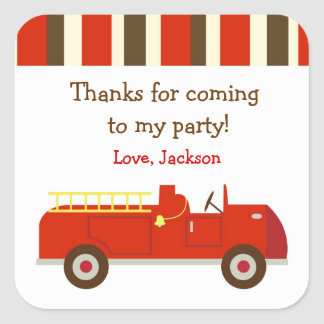 Vintage Fire truck Birthday Favor Sticker label