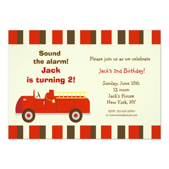Vintage Fire Truck Birthday Party Invitations