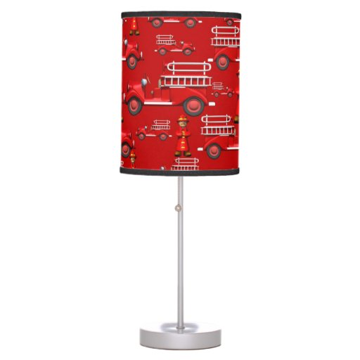 Red Truck Lamp : Fire truck hanging lamp and table lamps featuring a bold