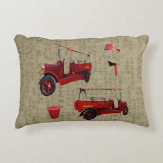 Vintage Fire Truck On Vintage Newspaper Print, Accent Pillow