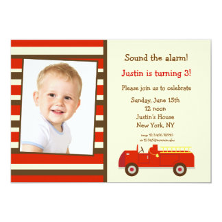 Vintage Fire Truck Photo Birthday Party Invitation