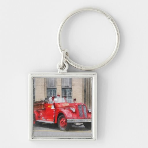 Vintage Fire Truck Silver-Colored Square Keychain