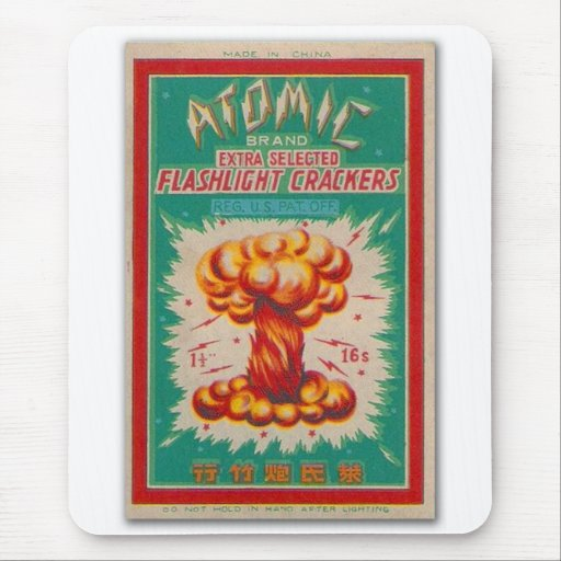 Vintage Firecracker Firework Label 'Atomic Brand' Mouse Pads