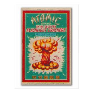 Vintage Firecracker Firework Label 'Atomic Brand' Postcard