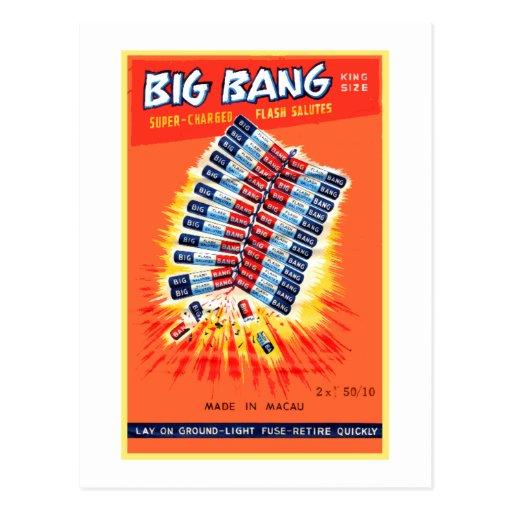 Vintage Firecracker Firework Label 'Big Bang' Postcard