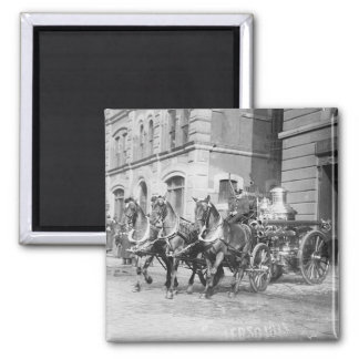 Vintage - Firehorses NYC 2 Inch Square Magnet