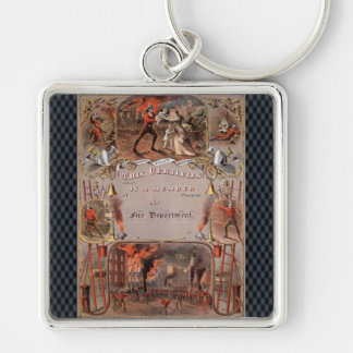 Vintage Fireman's Certificate Silver-Colored Square Keychain