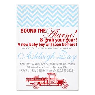 Vintage Firetruck Blue Chevron Baby Shower Invite