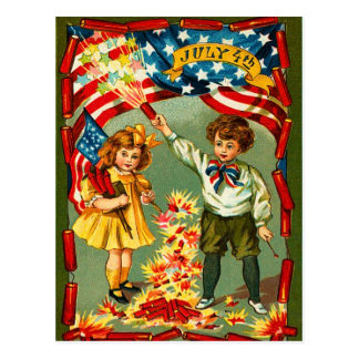 Vintage Fireworks and Kids Postcard