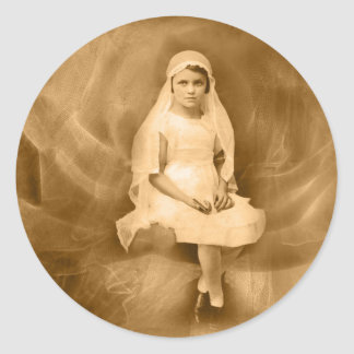 Vintage First Communion Girl, Dress, Veil, Rose Classic Round Sticker