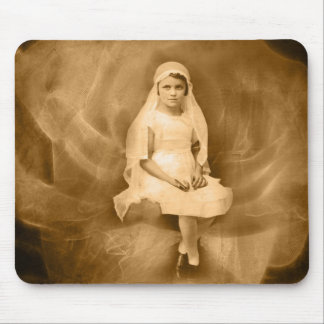 Vintage First Communion Girl, Dress, Veil, Rose Mouse Pad