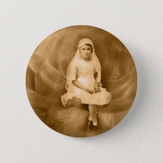 Vintage First Communion Girl, Dress, Veil, Rose Pinback Button
