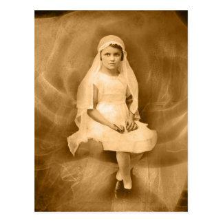 Vintage First Communion Girl, Dress, Veil, Rose Postcard