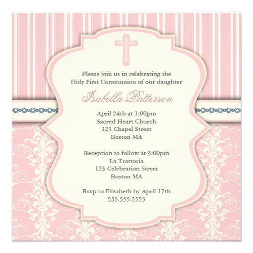 Vintage First Communion Pink Damask Invitation (back side)