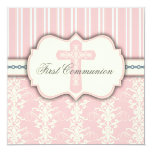 "Vintage First Communion Pink Damask Invitation 5.25"" Square Invitation Card"