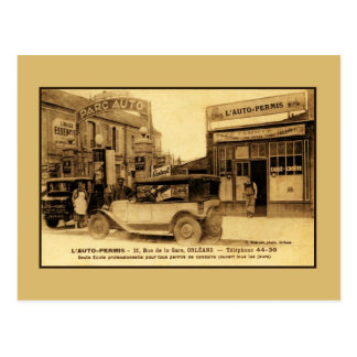 Vintage first French auto driving school Postcard
