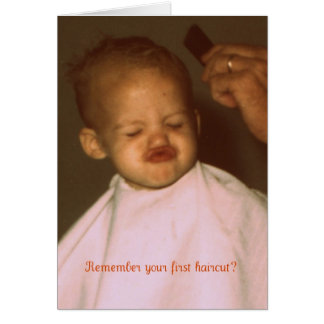 Vintage First Haircut Funny Birthday Greeting Card