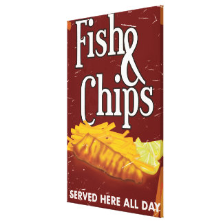 Vintage Fish and chips Poster Canvas Print