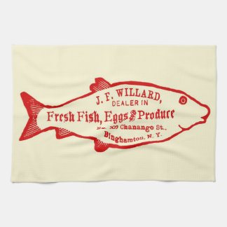 Vintage Fish and Produce Ad Kitchen Towel