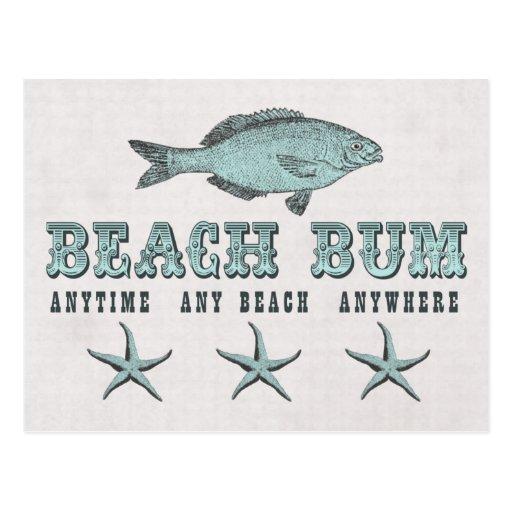 Vintage Fish and Star Fish Beach Bum Postcard