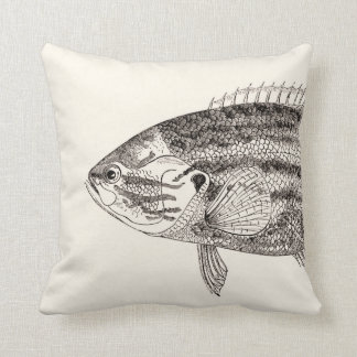 Vintage Fish Illustration Head and Tail Pillow