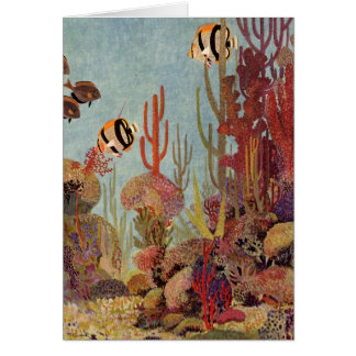 Vintage Fish in Ocean, Tropical Coral Angelfish Card