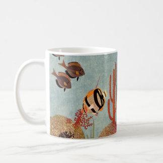 Vintage Fish in Ocean, Tropical Coral Angelfish Coffee Mug