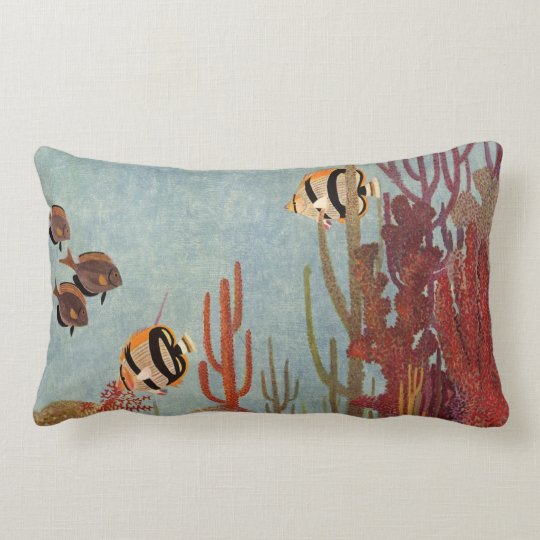 Vintage Fish in Ocean, Tropical Coral Angelfish Lumbar Pillow