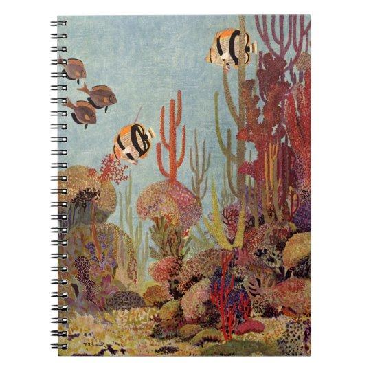 Vintage Fish in Ocean, Tropical Coral Angelfish Notebook