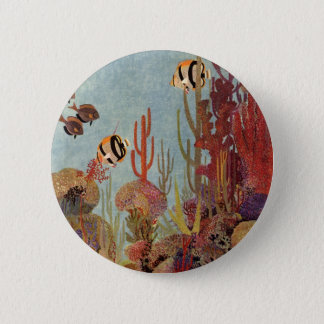 Vintage Fish in Ocean, Tropical Coral Angelfish Pinback Button