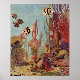 Vintage Fish in Ocean, Tropical Coral Angelfish Poster