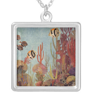 Vintage Fish in Ocean, Tropical Coral Angelfish Silver Plated Necklace