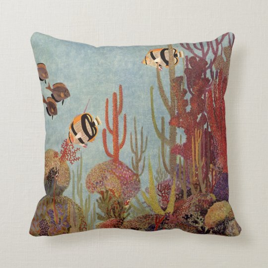 Vintage Fish in Ocean, Tropical Coral Angelfish Throw Pillow