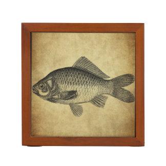 vintage fish ink stamps desk organizer