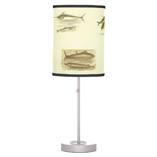 Vintage Fish Lithographs Desk Lamp