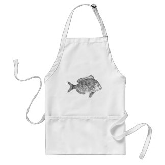 Vintage fish nautical marine art illustration adult apron