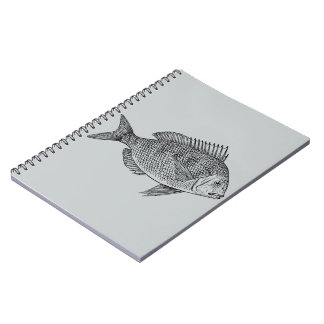 Vintage fish nautical marine art illustration spiral notebook