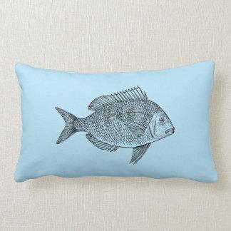 Vintage fish nautical marine art illustration throw pillow