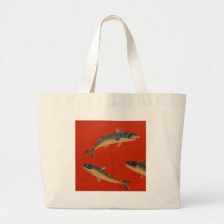 VINTAGE FISH PAINTING CANVAS BAG