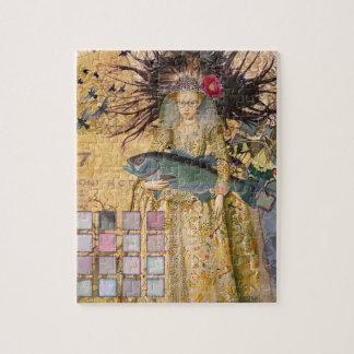 Vintage Fish Pisces Woman Renaissance Gothic Whims Jigsaw Puzzle