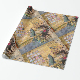 Vintage Fish Pisces Woman Renaissance Gothic Whims Wrapping Paper