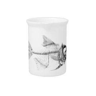 Vintage fish skeleton etching pitcher