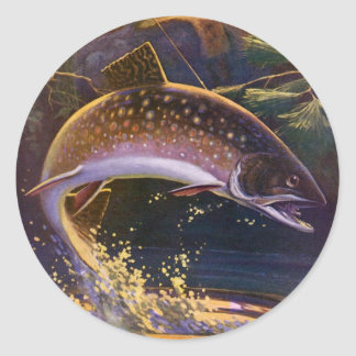 Vintage Fish, Sports Fishing Trout Catch n Release Classic Round Sticker