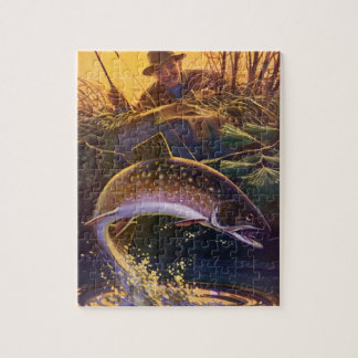 Vintage Fish, Sports Fishing Trout Catch n Release Jigsaw Puzzle