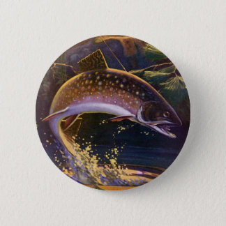 Vintage Fish, Sports Fishing Trout Catch n Release Pinback Button
