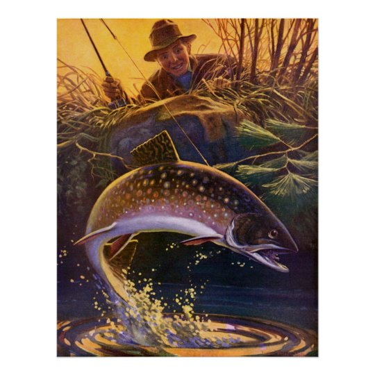 Vintage Fish, Sports Fishing Trout Catch n Release Poster