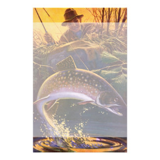 Vintage Fish, Sports Fishing Trout Catch n Release Stationery