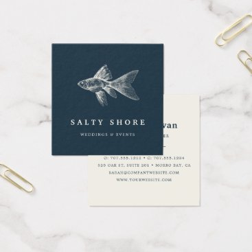 Beach Themed Vintage Fish Square Business Card