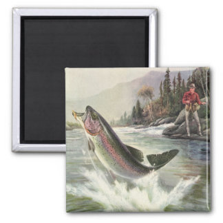 Vintage Fisherman Fishing Rainbow Trout Fish 2 Inch Square Magnet