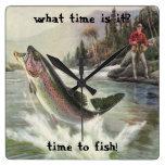 Vintage Fisherman Fishing Rainbow Trout Fish Square Wall Clocks